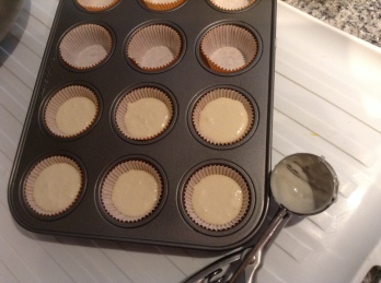 Scoop in mini muffin pan