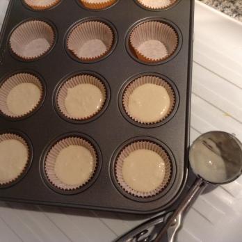 Scoop in mini muffin pan