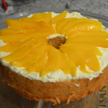 Layer with thinly sliced Mangoes