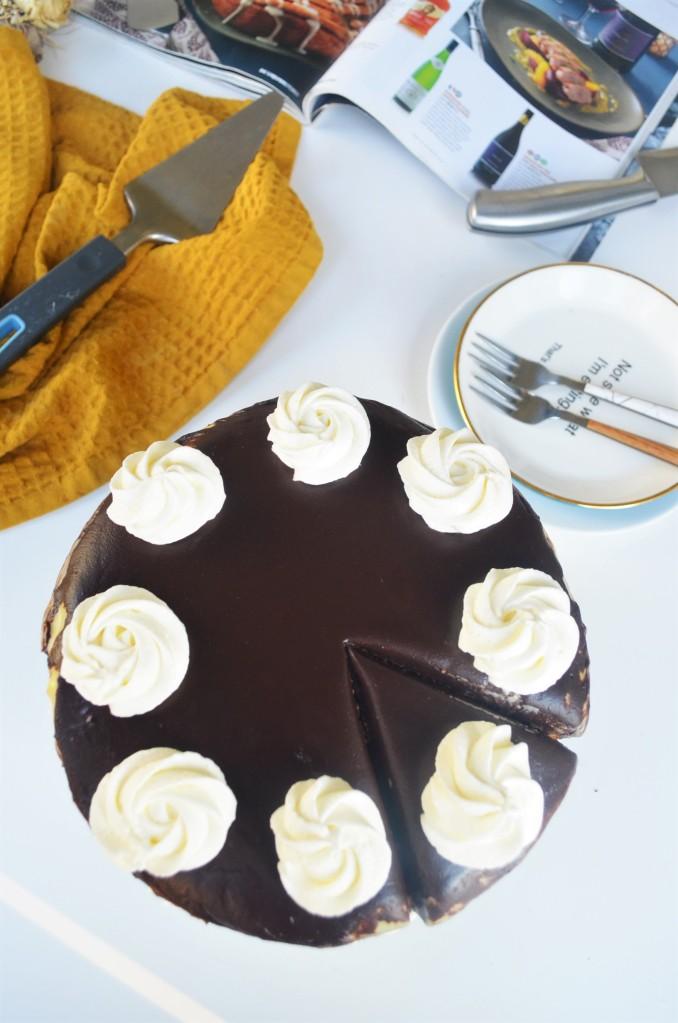 Boston Cream Cake with Homemade Pastry Cream and Chocolate Gaanche