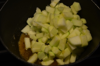 Add diced apples