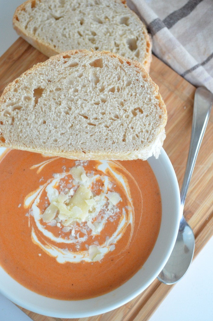 Creamy Tomato Basil and Parmesan Soup