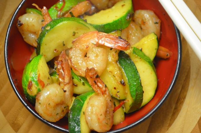 One Pan Spicy Garlic Shrimp with Zucchini