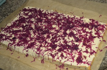 Grate purple yam on top