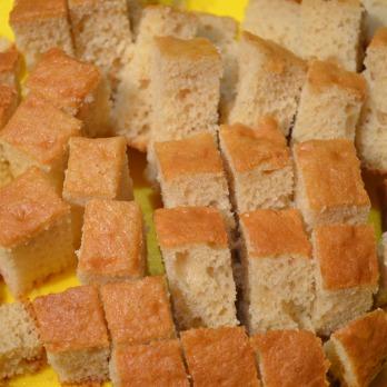 Slice the cake into small cube