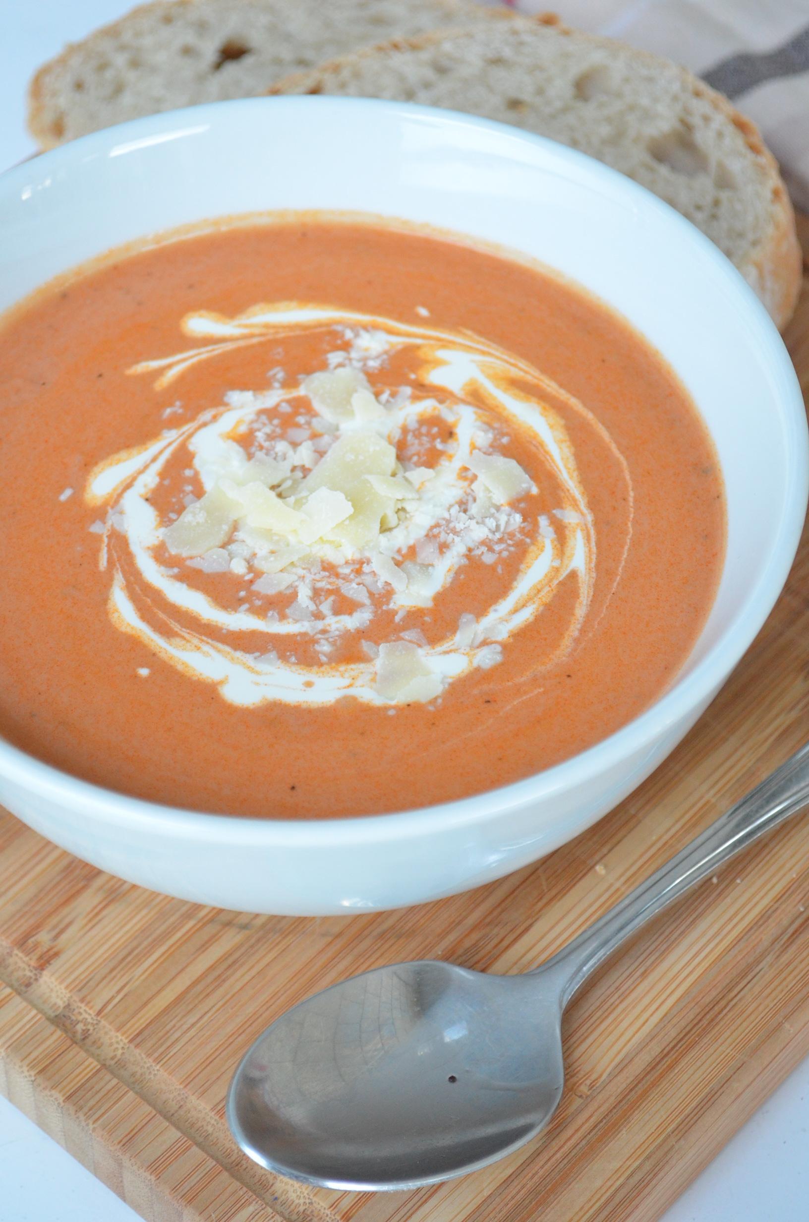 Tomato Basil and Parmesan Soup