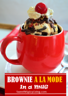 Brownie A La Mode in a Mug