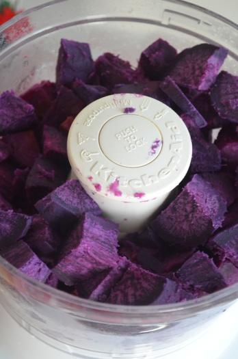 Slice purple yam into cubes