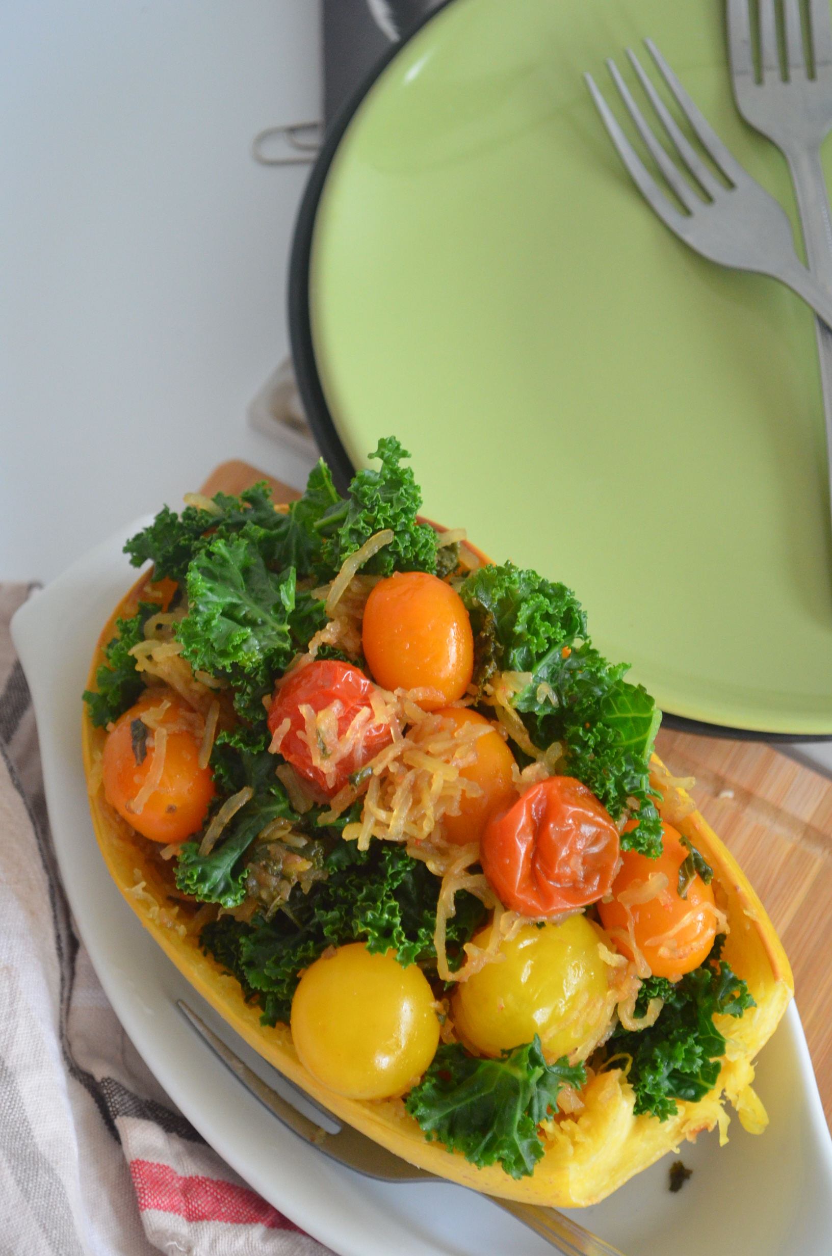 Spaghetti Squash with Kale and Tomato Recipe