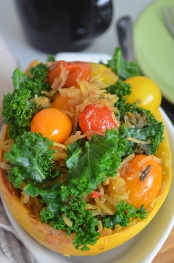Spaghetti Squash with Kale and Tomato Recipe