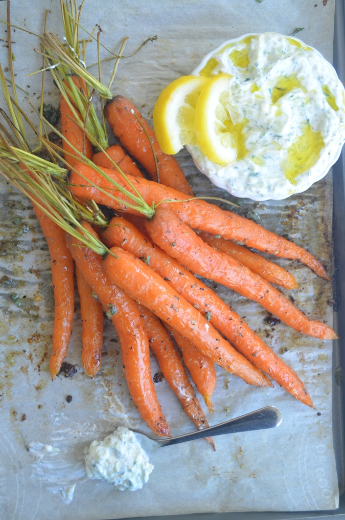 Roasted Baby Carrots with Tzatziki Dip