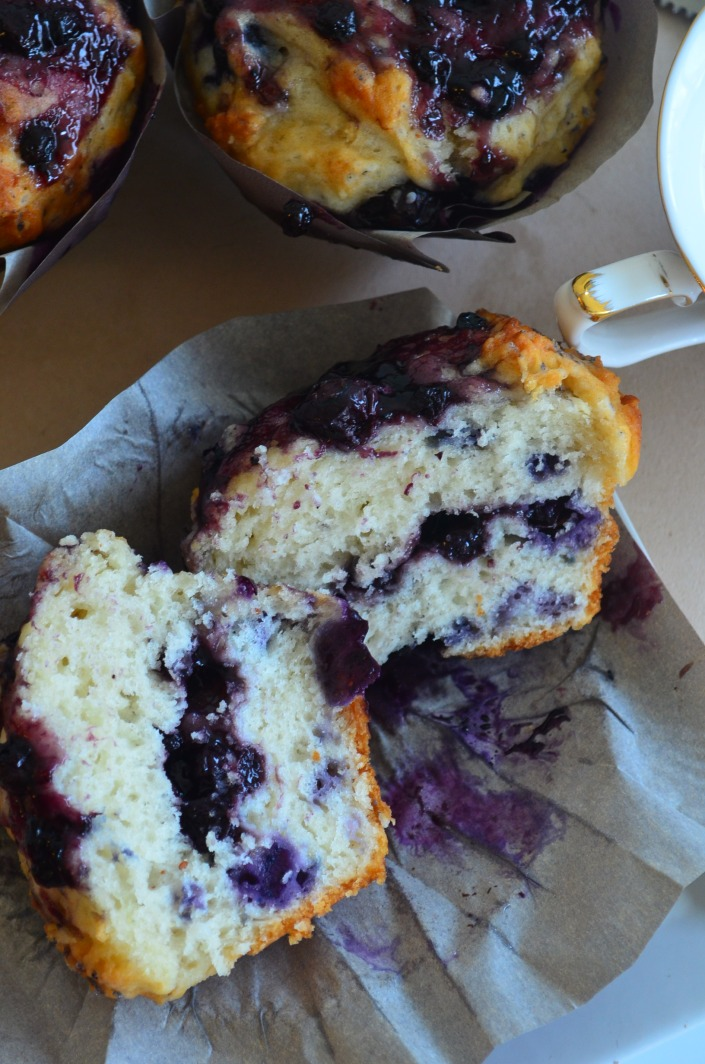 Simple Blueberry Yogurt Muffin by SweetNSpicyLiving.com