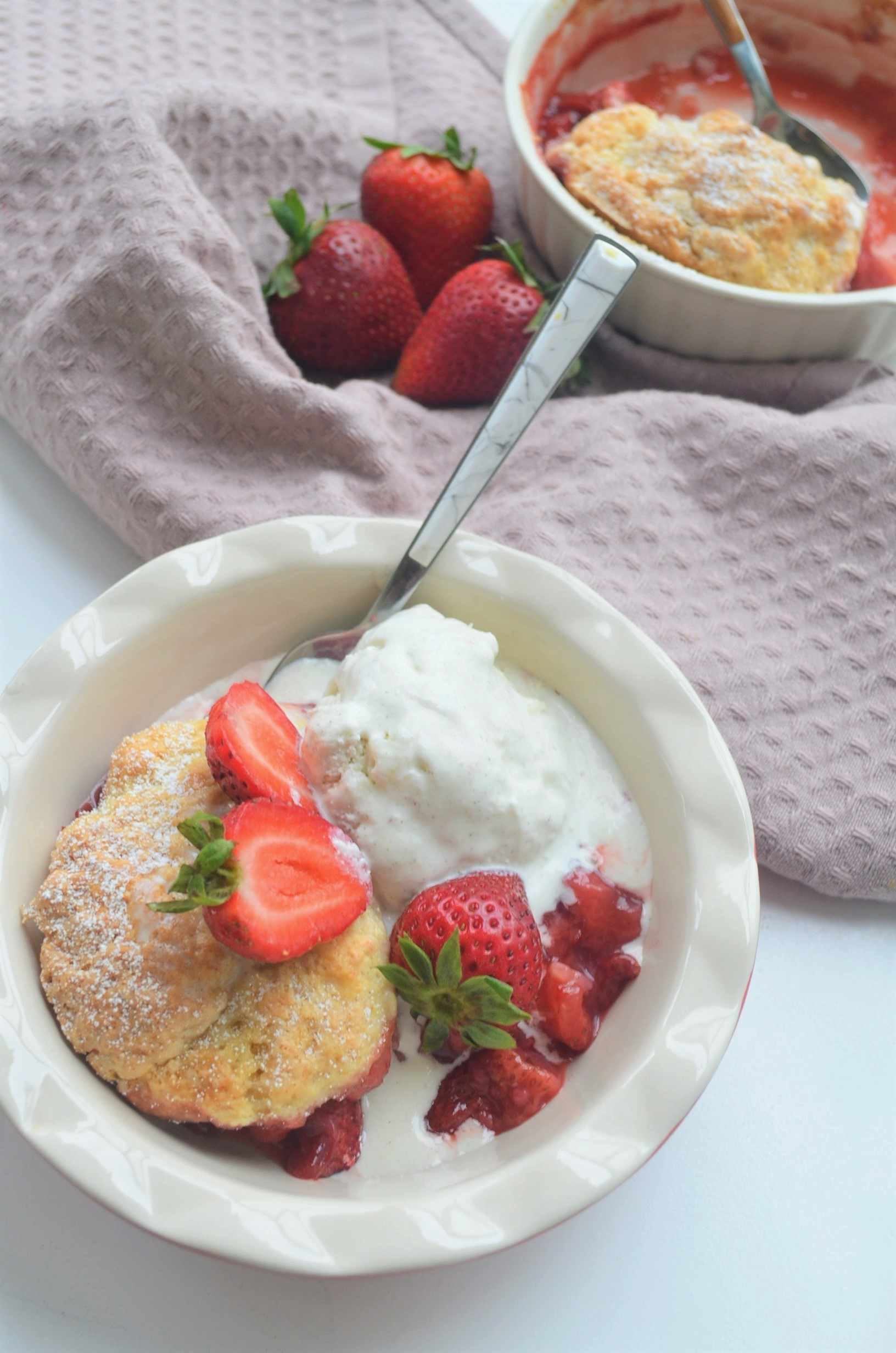 Small Batch Strawberry Cobbler For Two
