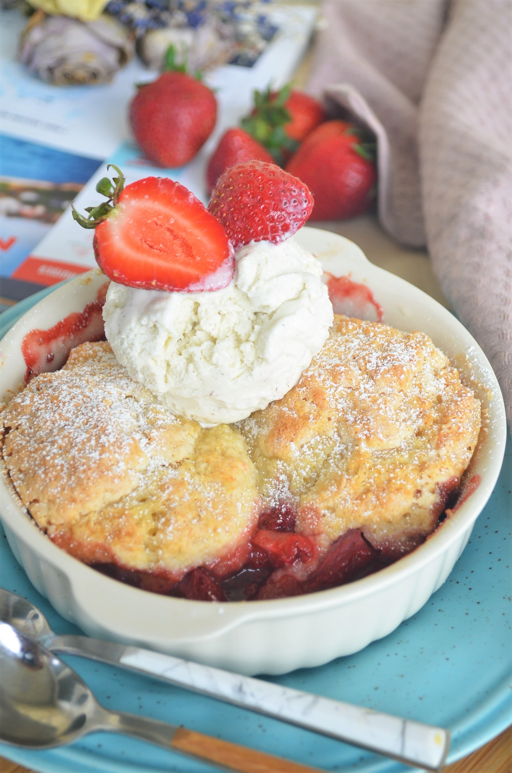 Small Batch Strawberry Cobbler with Cornmeal Biscuit Topping
