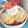 Small Batch Strawberry Cobbler with Cornmeal BiscuitTopping