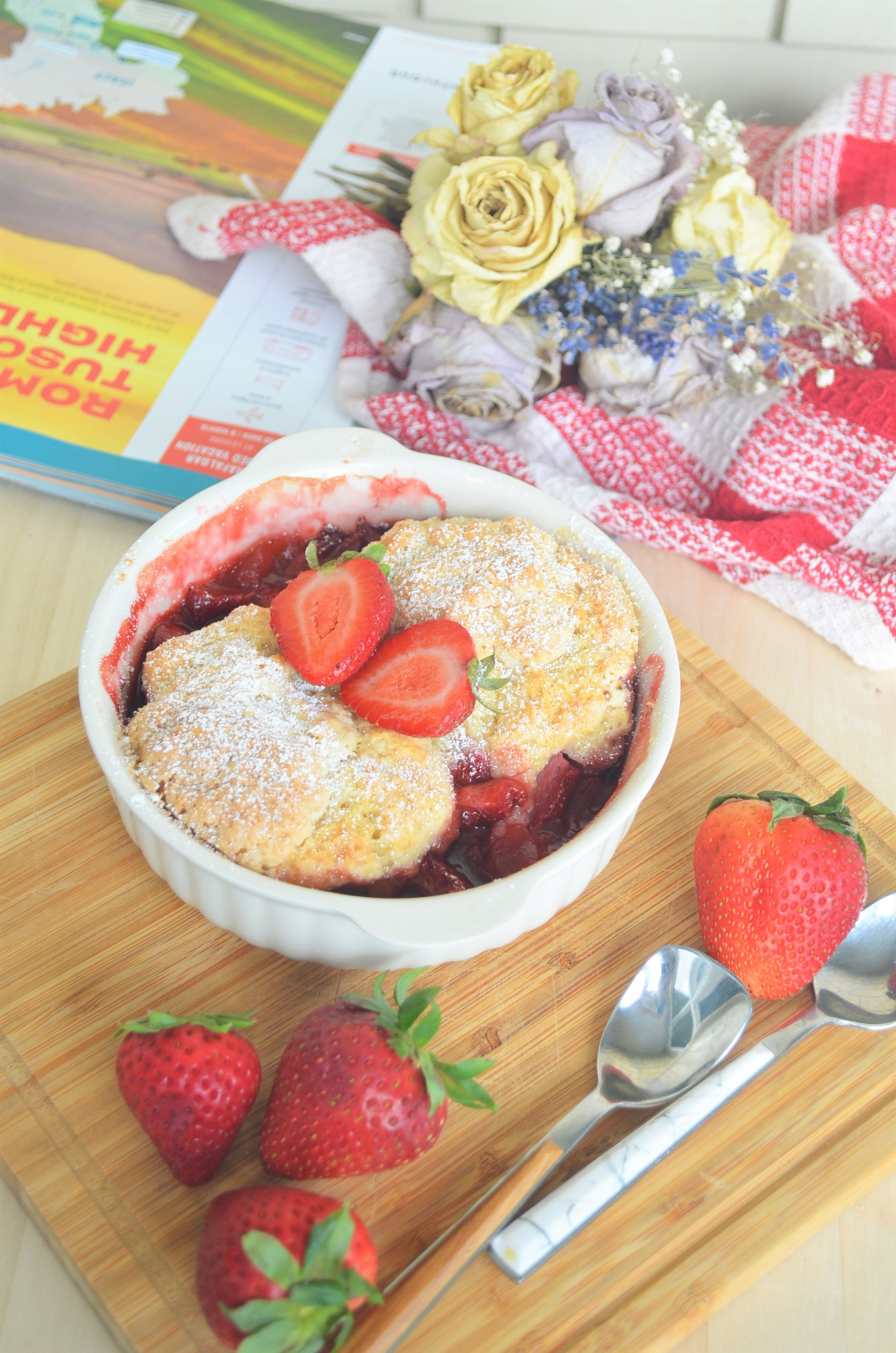Small Batch Strawberry Cobbler with Cornmeal Biscuit