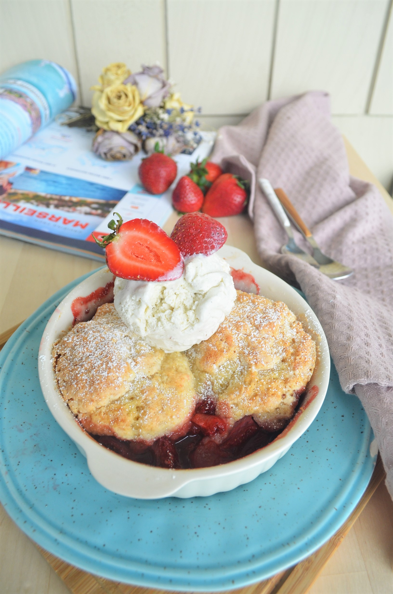Strawberry Cobbler with Cornameal Biscuit Topping