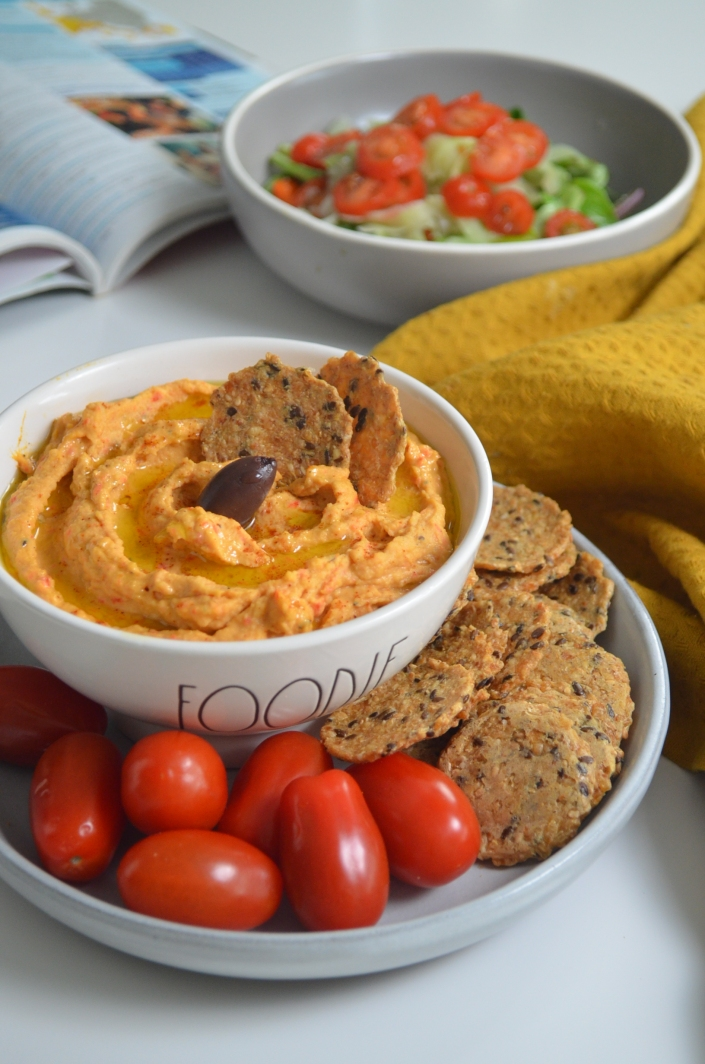 Roasted Spicy Bell Pepper Hummus