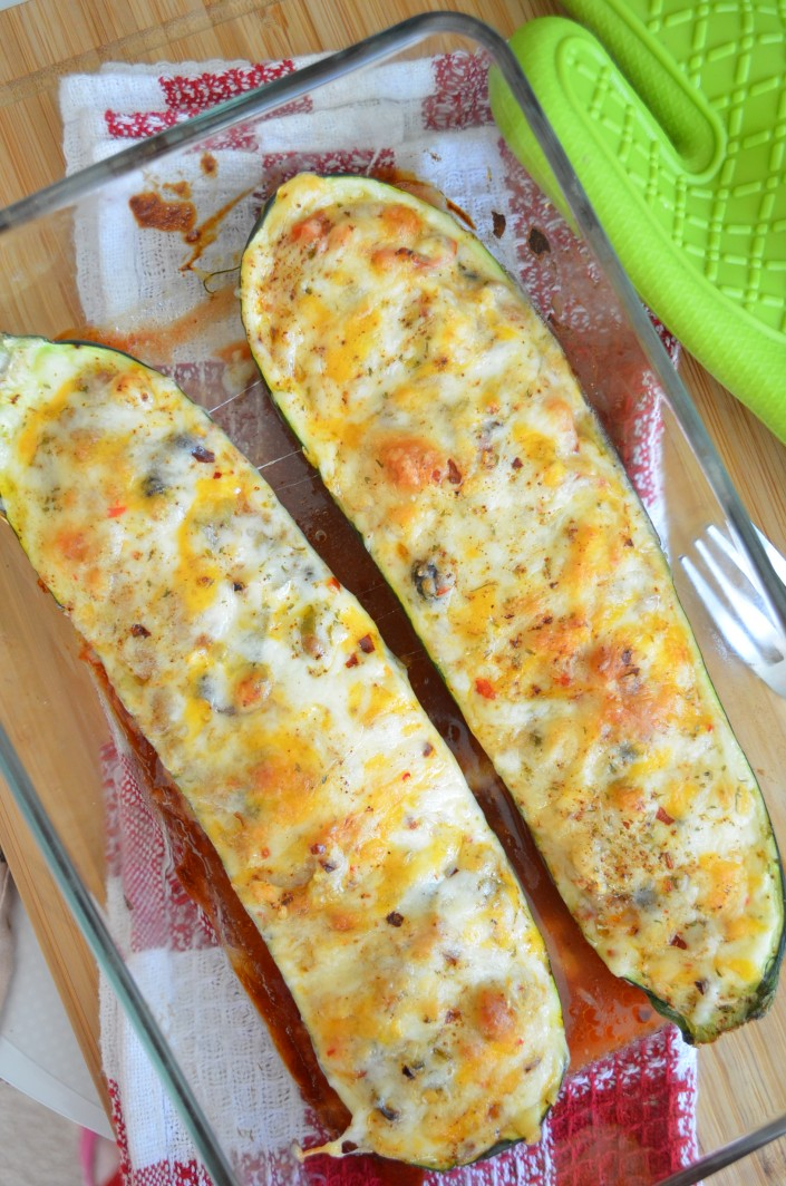 Chili and Cheese Zucchini Stuffed Boat