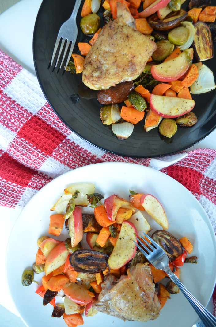 Pan Sheet Veggies and Chicken Dinner