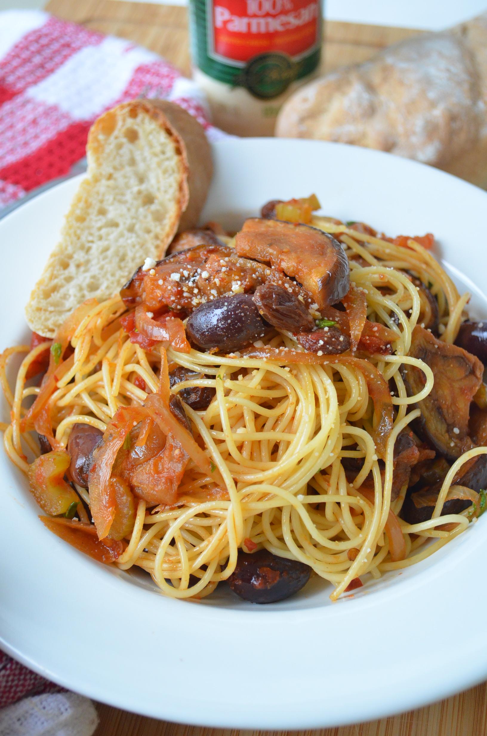 Caponata Spaghetti Pasta at SweetnSpicyLiving.com