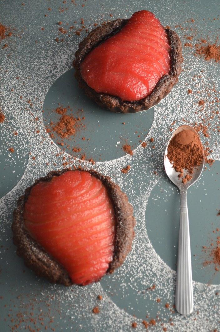 Poach Pear Chocolate Frangipane Tart