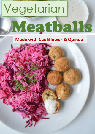 Vegetarian Meatballs Made with Cauliflower and Quinoa