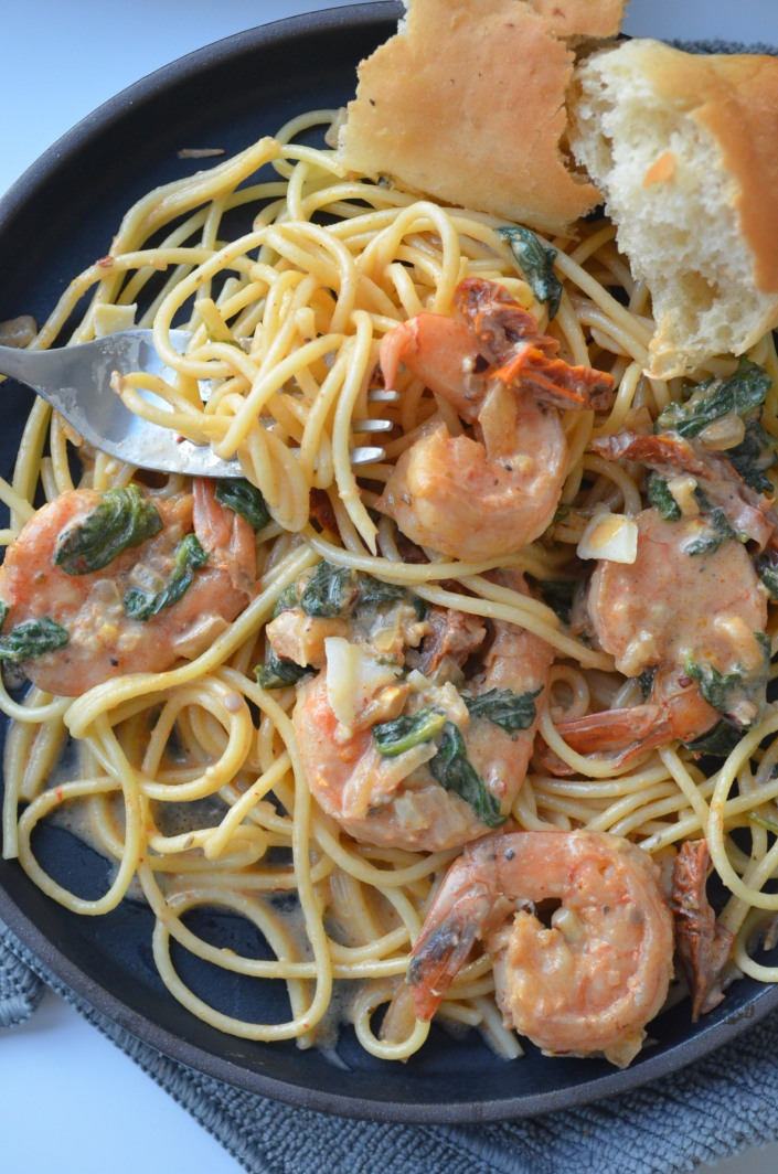 Garlic Butter Tusacn Shrimp Pasta at SweetNSpicyLiving.com