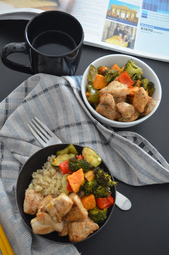 Roasted Vegetable and Chicken Quinoa Bowls for Two Recipe