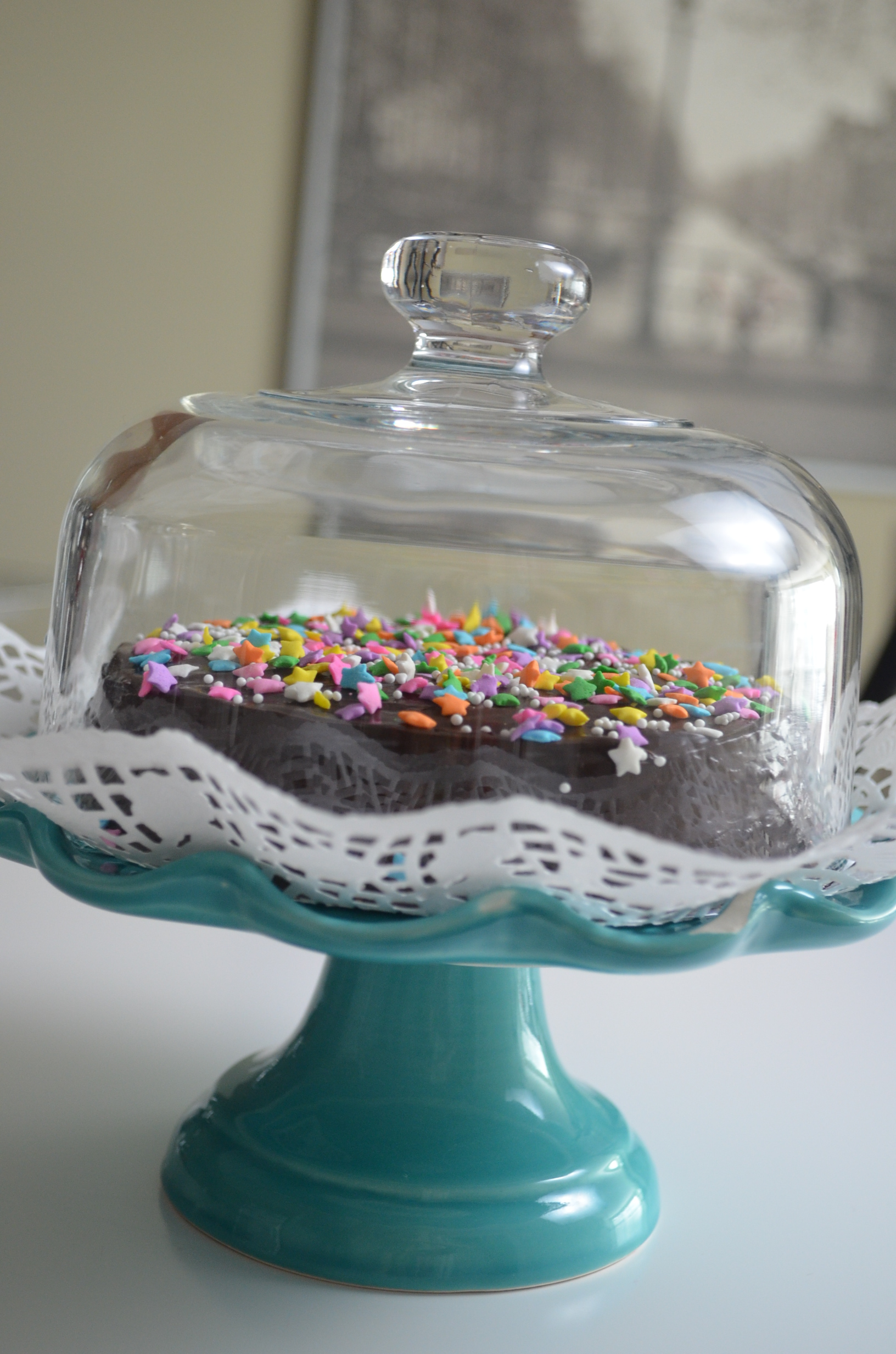 Small Batch Chocolate Sprinkles Cake Recipe at SweetNSpicyLiving.com