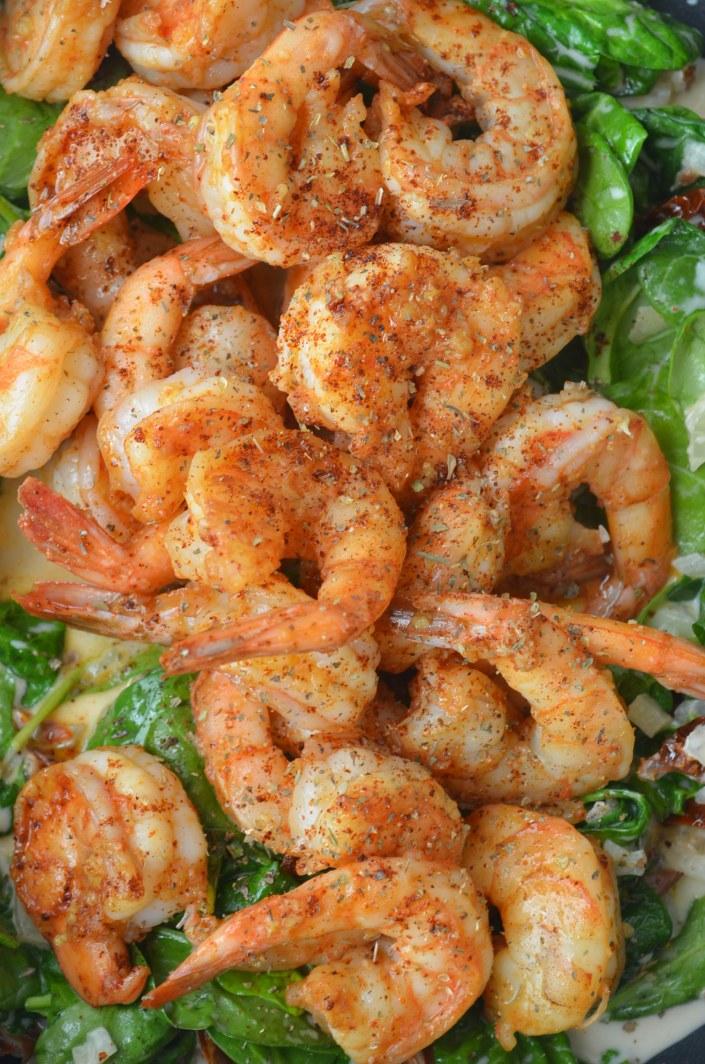 Tuscan Shrimp Spaghetti at SweetNSpicyLiving.com