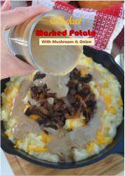 Baked Mashed Potato with Mushroom and Onion
