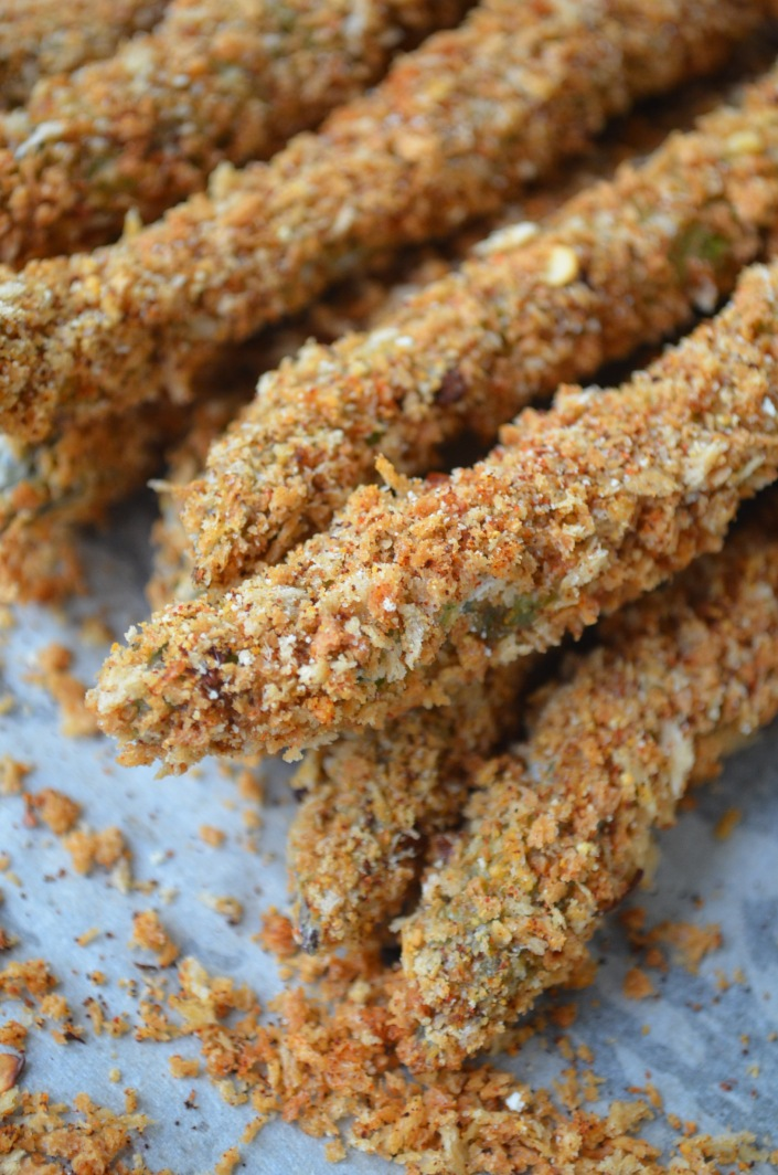 Baked Parmesan Asparagus Fries at SweetnSpicyLiving.com
