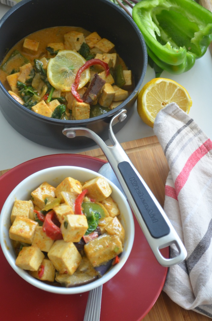 Tofu Red Curry in Thai Coconut Sauce at SweetNSpicyLiving.com