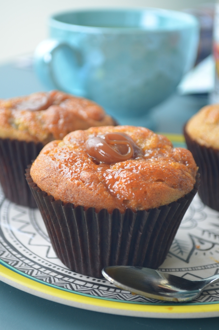 Caramel Swirl Banana Muffins at SweetNSpicyLiving.com