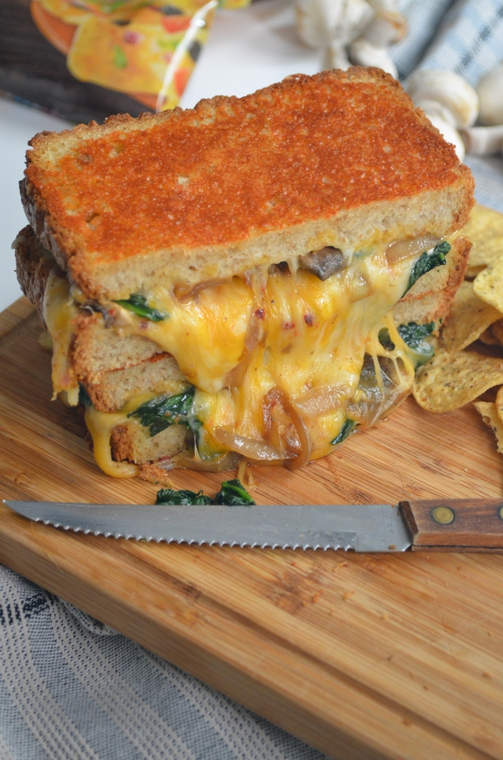 Caramelized Onion and Mushroom with Spinach Grilled Cheese