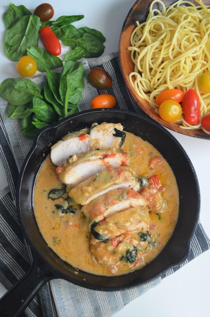 Creamy Chicken Spinach and Tomato
