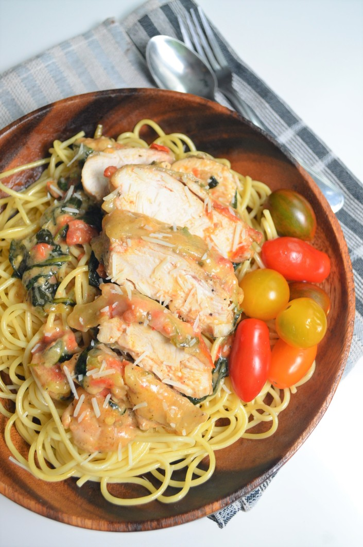 Creamy Tuscan Chicken Spaghetti at SweetNSpicyLiving.com