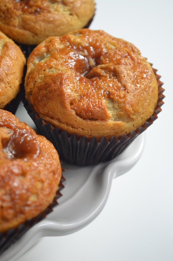 Dulce De Leche Swirl Banana Muffins at SweetNSpicyLiving