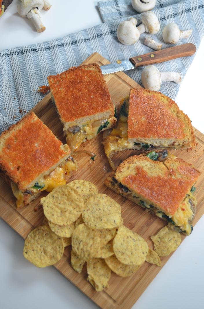 Mushroom and Spinach Grilled Cheese at SweetNSpicyLiving.com