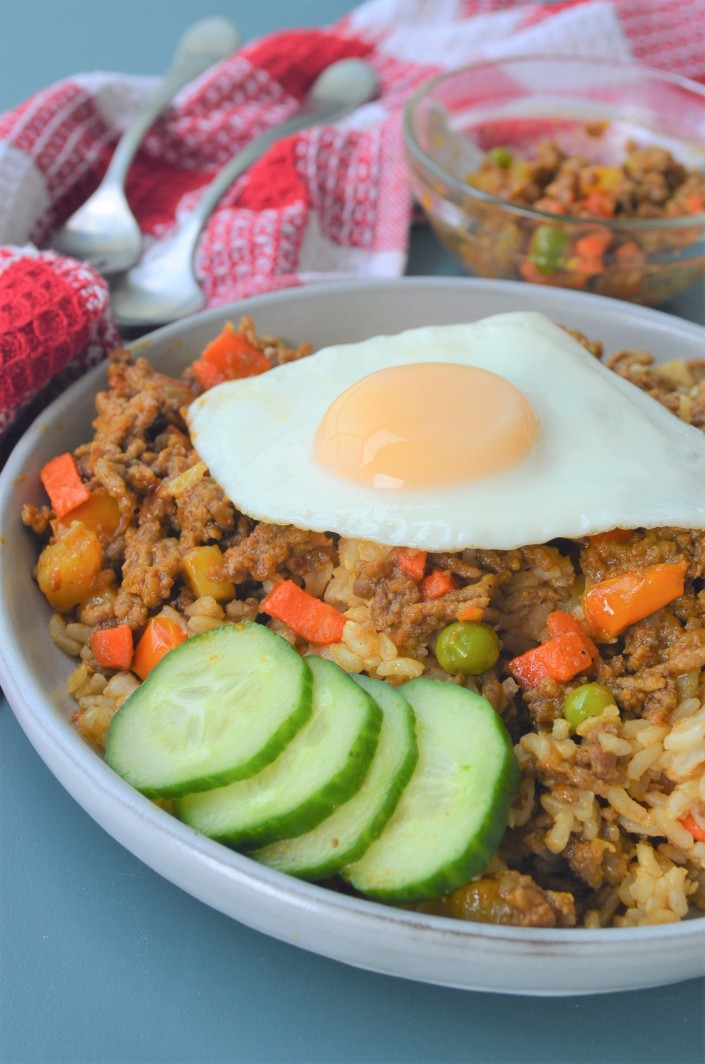 Spicy Ground Beef with Egg Rice Bowl