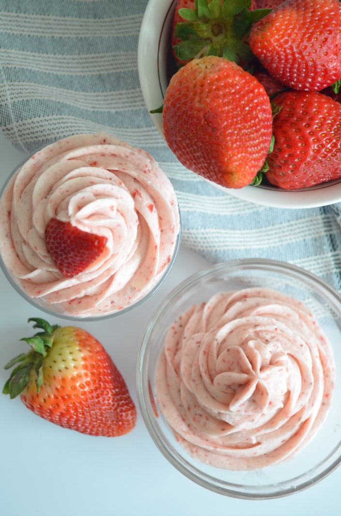 Strawberry Buttercream Whipped Frosting at SweetnSpicyLiving.com