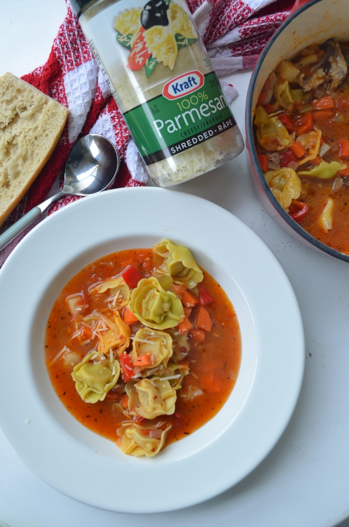 Tortellini and Vegetable Soup at SweetNSpicyLiving.com