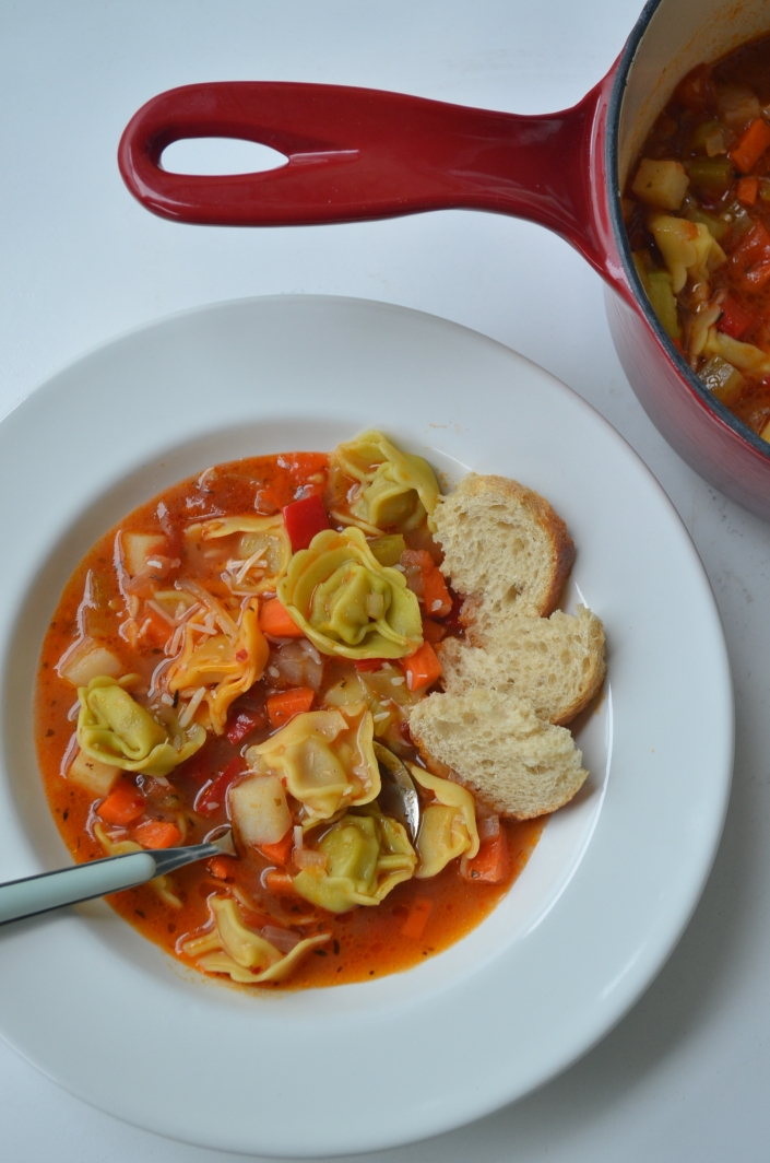 Veggie Tortellini Soup at SweetNSpicyLiving.com