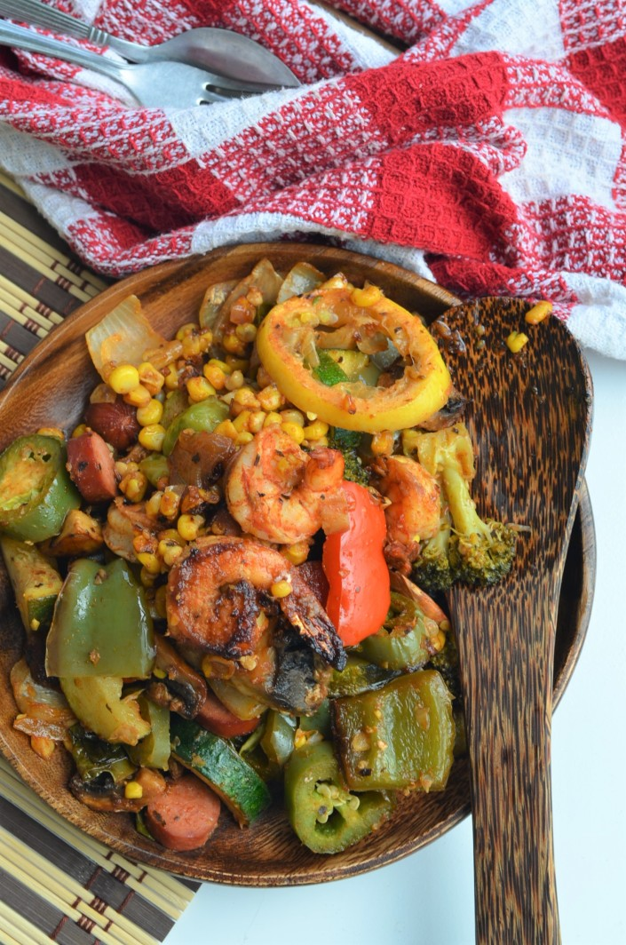 Grilled Shrimp and Sausage with Vegetables By SweetNSpicyLiving.com