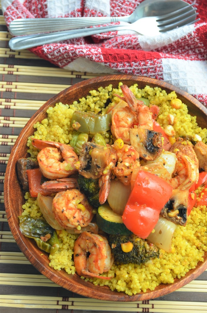 Grilled Shrimp and Veggie with Turmeric Quinoa By SweetNSpicyLiving.com