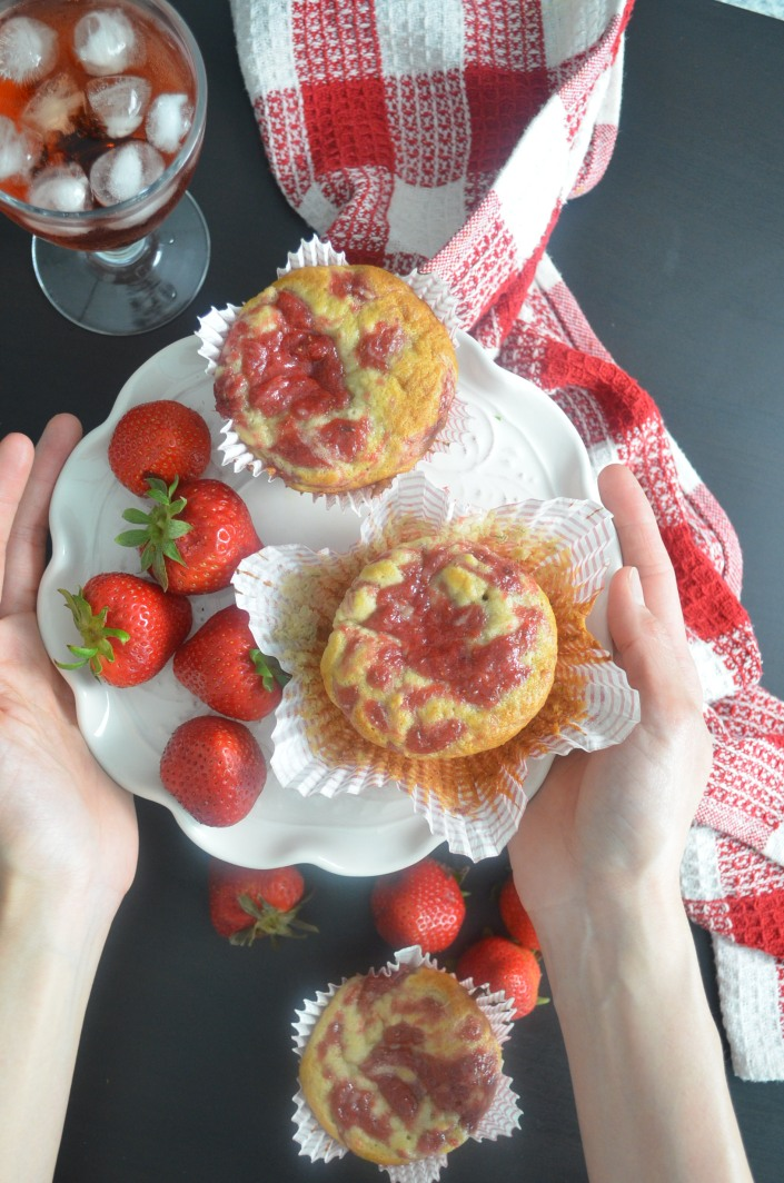 Homemade Strawberry Swirl Banana Muffin By SweetnSpicyLiving.com