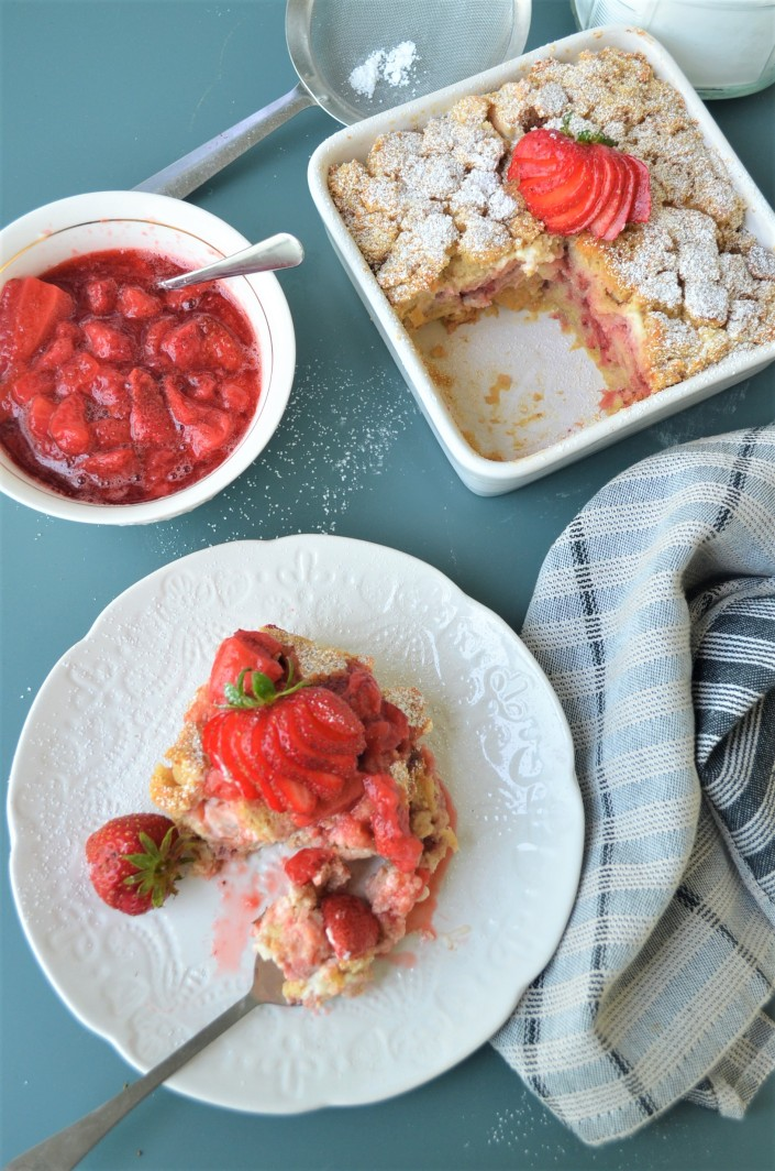 Overnight Strawberry Cream Cheese French Toast Bake By SweetnSpicyLiving.com