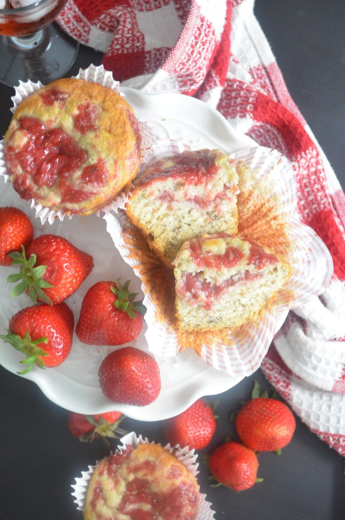 Soft and Moist Homemade Banana Strawberry Muffin By SweetnSpicyLiving.com