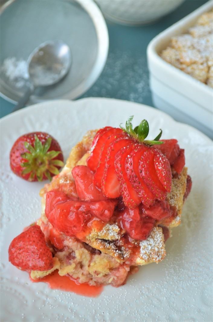 Strawberry and Cream Cheese Overnight French Toast